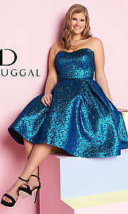 Strapless Metallic Tea-Length Plus Homecoming Dress