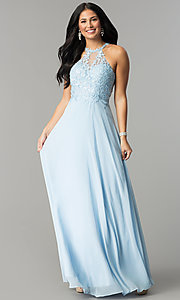 Image of long blue prom dress with embroidered bodice. Style: DQ-2196 Detail Image 2