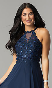 Image of long blue prom dress with embroidered bodice. Style: DQ-2196 Detail Image 1