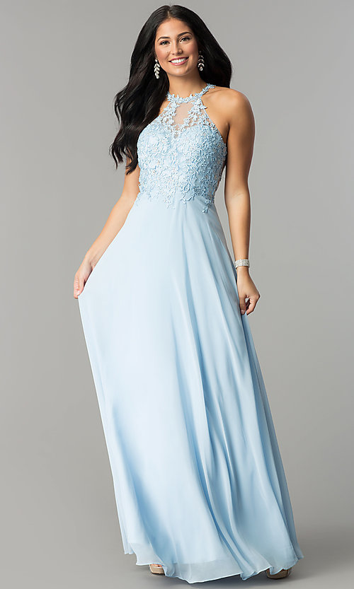 Embroidered-Bodice Long Blue Prom Dress - PromGirl