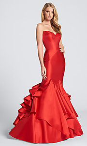 Strapless Formal Dress with a Layered Mermaid Skirt