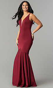 Image of long v-neck mermaid prom dress with drop waist. Style: DQ-2186 Detail Image 2
