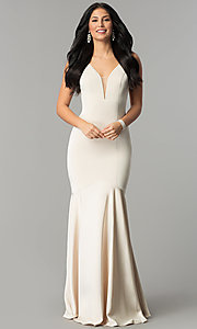 Long V-Neck Mermaid Prom Dress with Drop Waist