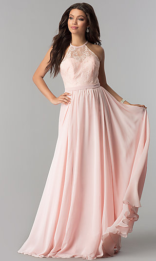 Long Lace-Bodice Prom Dress with Criss-Cross Straps