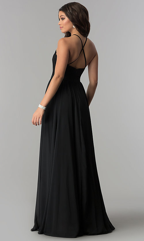 Image of long lace-bodice prom dress with criss-cross straps. Style: DQ-2009 Back Image