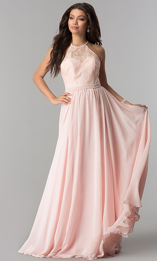 Image of long lace-bodice prom dress with criss-cross straps. Style: DQ-2009 Front Image