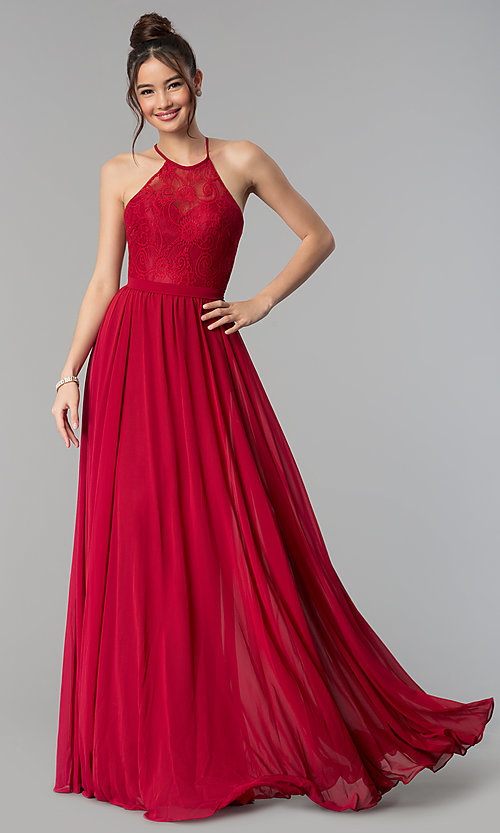 Image of long lace-bodice prom dress with criss-cross straps. Style: DQ-2009 Detail Image 5
