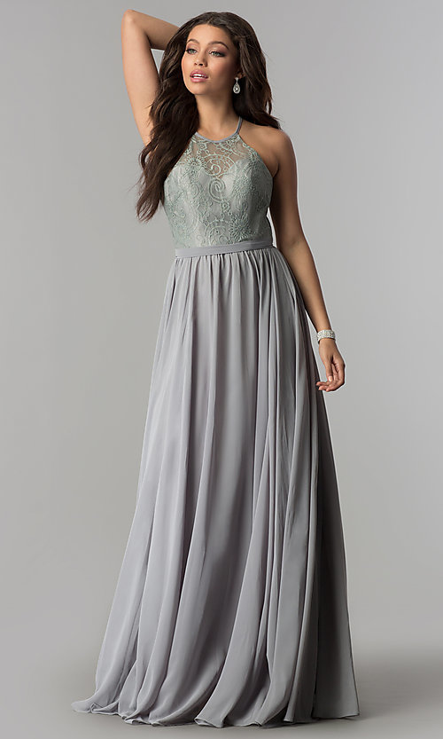 Image of long lace-bodice prom dress with criss-cross straps. Style: DQ-2009 Detail Image 3