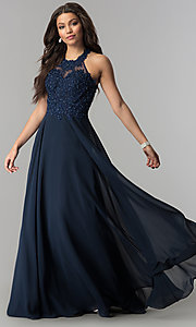 Long Embroidered-Bodice High-Neck Prom Dress
