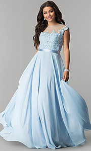 Image of long embroidered-bodice cap-sleeve chiffon prom dress. Style: DQ-2121 Detail Image 1
