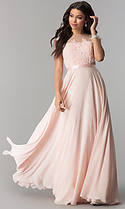 Image of long embroidered-bodice cap-sleeve chiffon prom dress. Style: DQ-2121 Front Image