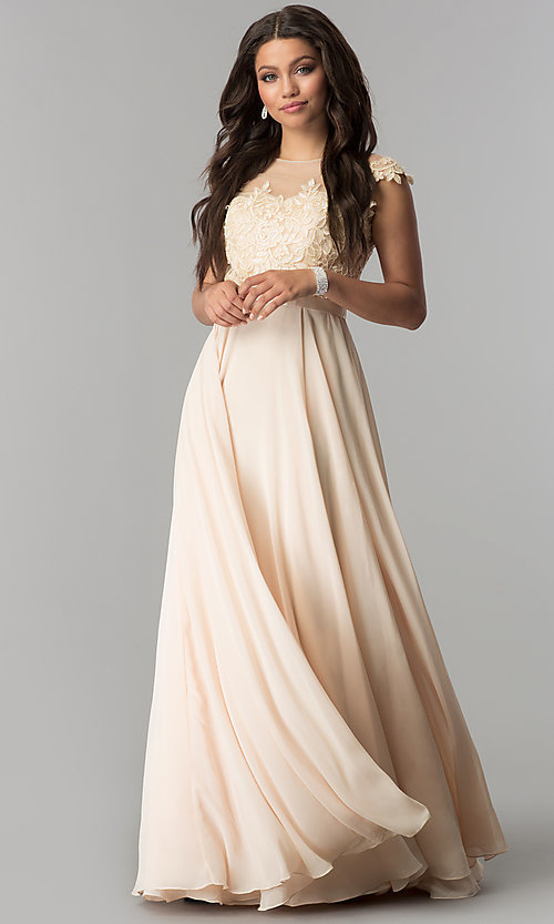 Image of long embroidered-bodice cap-sleeve chiffon prom dress. Style: DQ-2121 Detail Image 3