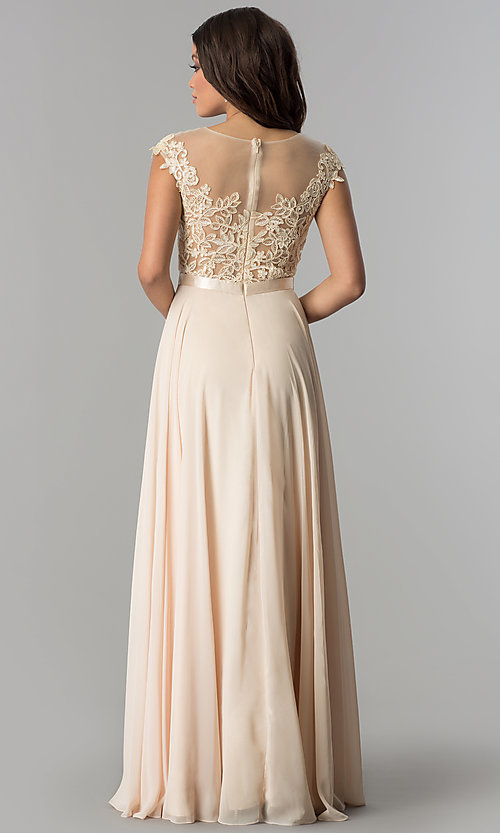 Image of long embroidered-bodice cap-sleeve chiffon prom dress. Style: DQ-2121 Back Image