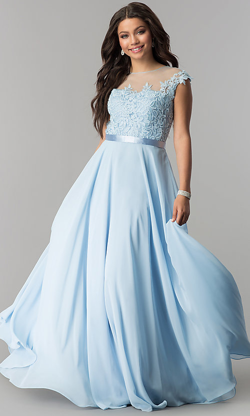 Image of long embroidered-bodice cap-sleeve chiffon prom dress. Style: DQ-2121 Detail Image 4