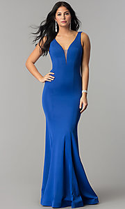 Image of illusion-v-neck long mermaid formal prom dress. Style: DQ-2203 Detail Image 3