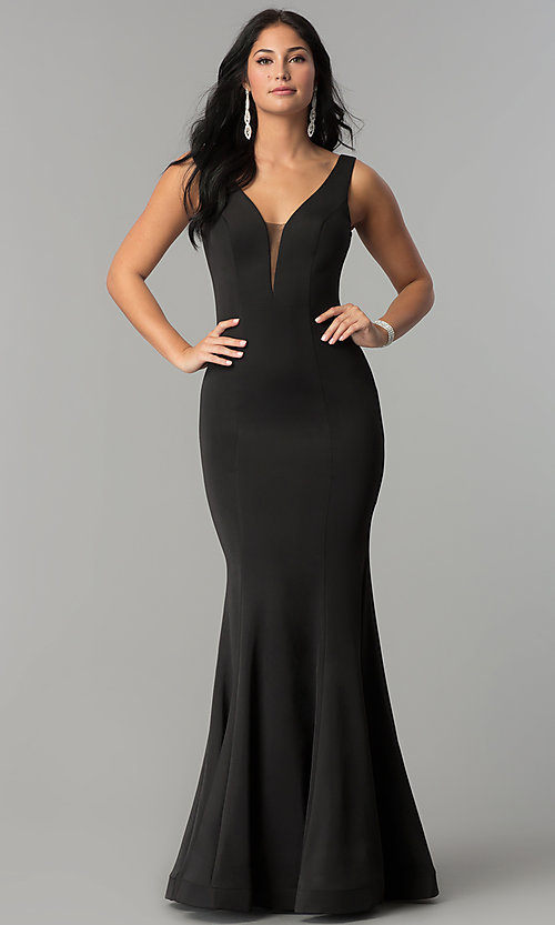 Image of illusion-v-neck long mermaid formal prom dress. Style: DQ-2203 Front Image