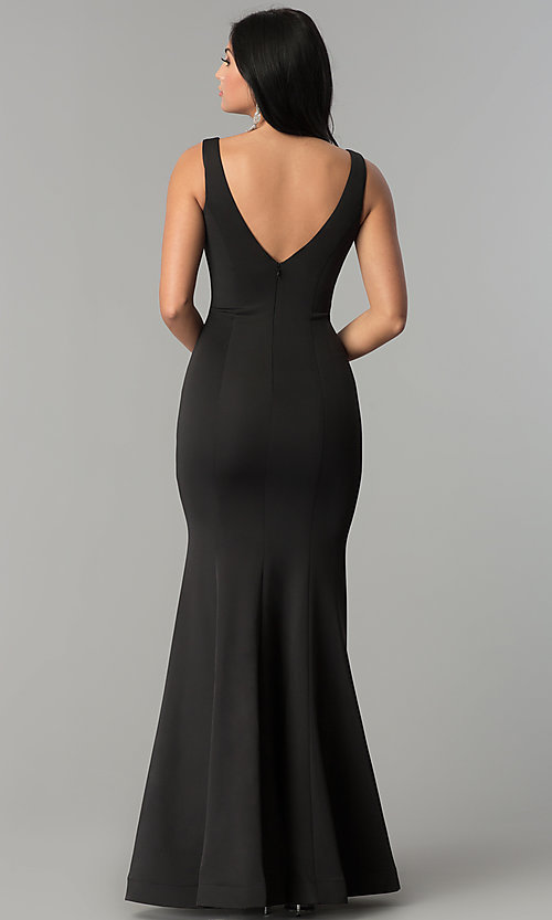 Image of illusion-v-neck long mermaid formal prom dress. Style: DQ-2203 Back Image