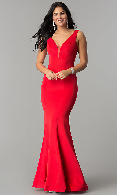 Image of illusion-v-neck long mermaid formal prom dress. Style: DQ-2203 Detail Image 2