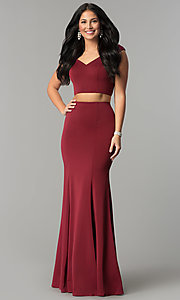 Image of two-piece off-the-shoulder mermaid prom dress. Style: DQ-2205 Front Image