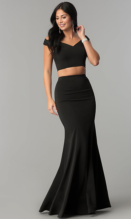 Image of two-piece off-the-shoulder mermaid prom dress. Style: DQ-2205 Detail Image 1
