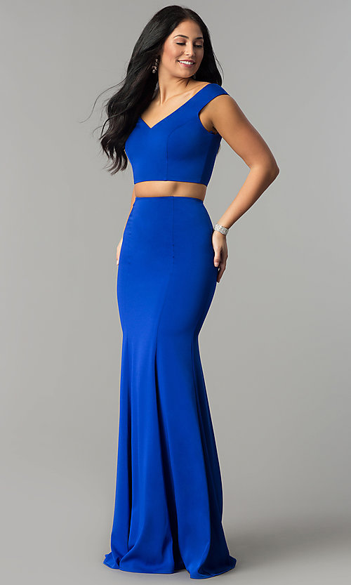 Image of two-piece off-the-shoulder mermaid prom dress. Style: DQ-2205 Detail Image 2