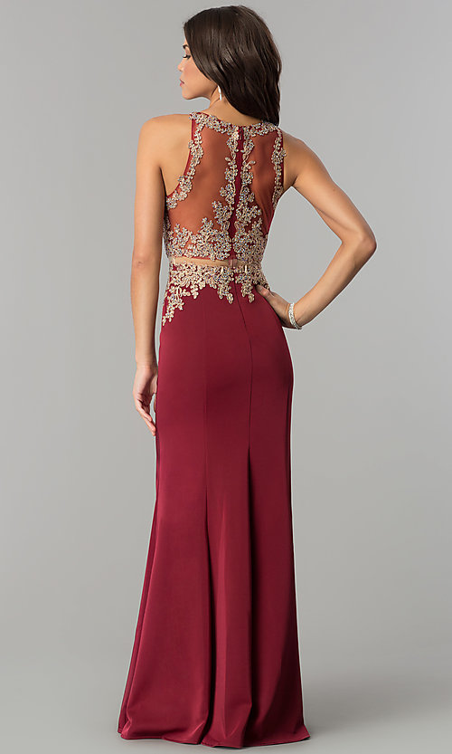 Image of mock-two-piece illusion long formal prom dress. Style: DQ-2224 Back Image
