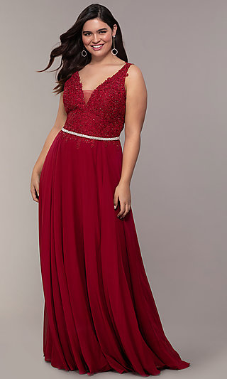 Embroidered-Lace-Applique Long Chiffon Prom Dress