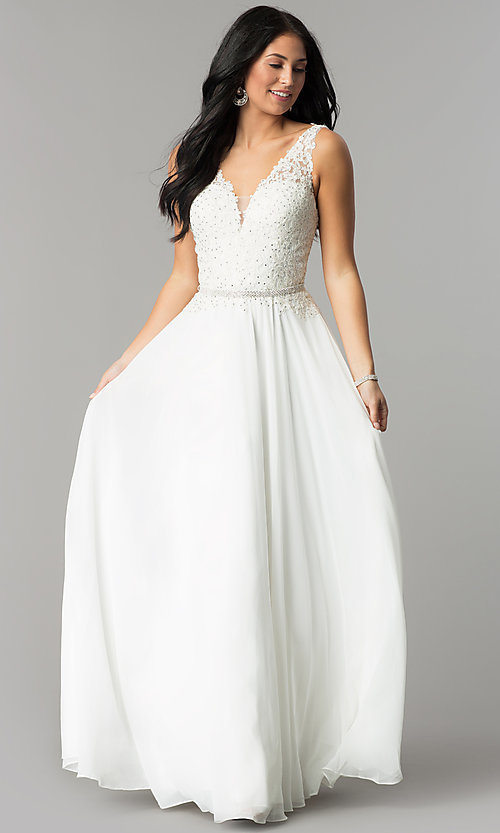 Image of embroidered-lace-applique long chiffon prom dress. Style: DQ-2161 Detail Image 2