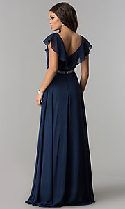 Image of long chiffon evening dress with ruffled v-neck. Style: DQ-2072 Back Image