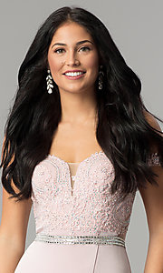 Image of long lace-bodice off-the-shoulder prom dress. Style: DQ-2164 Detail Image 1