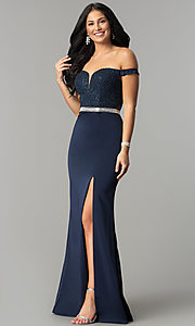 Image of long lace-bodice off-the-shoulder prom dress. Style: DQ-2164 Detail Image 3
