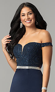 Image of long lace-bodice off-the-shoulder prom dress. Style: DQ-2164 Detail Image 5