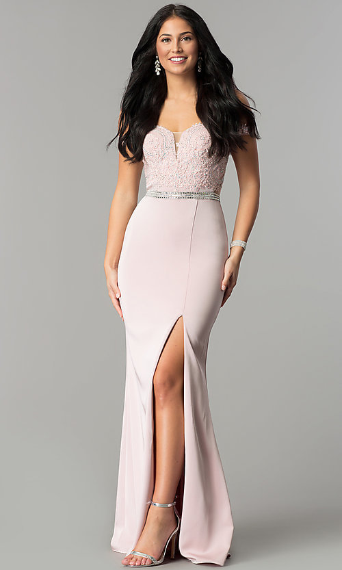 Image of long lace-bodice off-the-shoulder prom dress. Style: DQ-2164 Front Image
