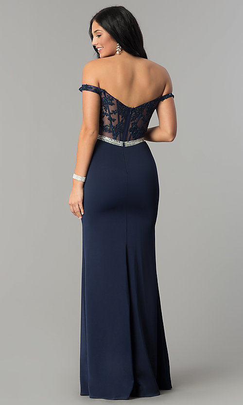Image of long lace-bodice off-the-shoulder prom dress. Style: DQ-2164 Detail Image 4