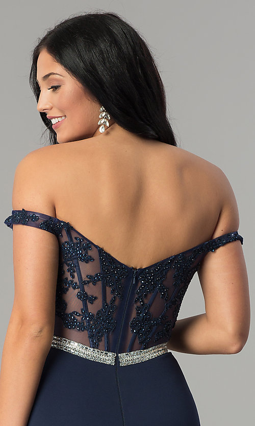 Image of long lace-bodice off-the-shoulder prom dress. Style: DQ-2164 Detail Image 6
