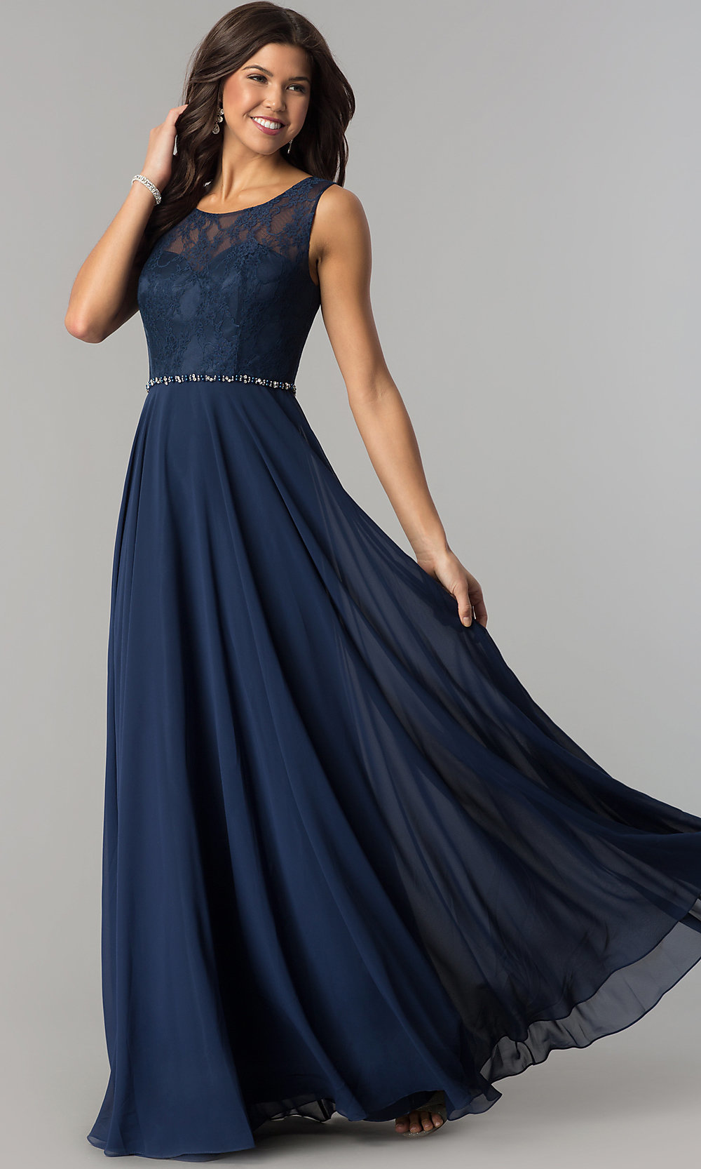 Image of lace-bodice long chiffon illusion-neck prom dress. Style  DQ. Tap  to expand 1ffbd8534