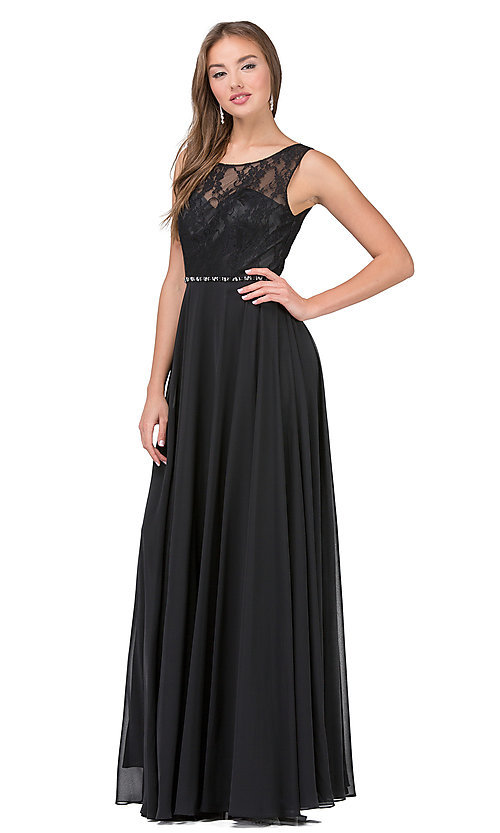 Image of lace-bodice long chiffon illusion-neck prom dress. Style: DQ-2240 Detail Image 3