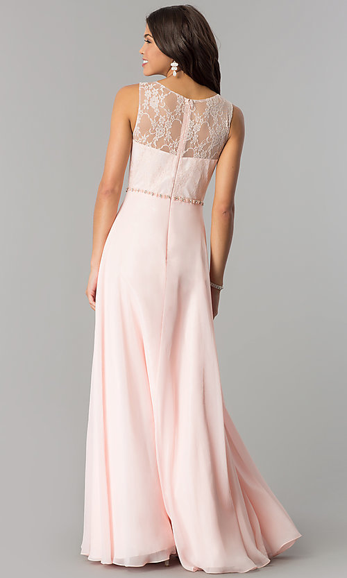 Image of lace-bodice long chiffon illusion-neck prom dress. Style: DQ-2240 Back Image