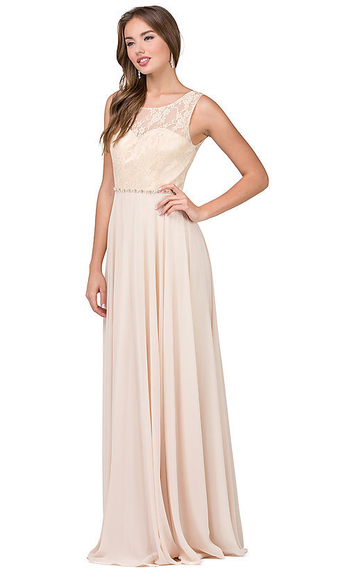 Image of lace-bodice long chiffon illusion-neck prom dress. Style: DQ-2240 Detail Image 4