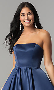 Image of long strapless prom dress with lace-up corset. Style: DQ-2211 Detail Image 1