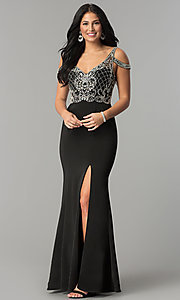 Image of cold-shoulder long beaded-bodice prom dress. Style: DQ-2187 Front Image