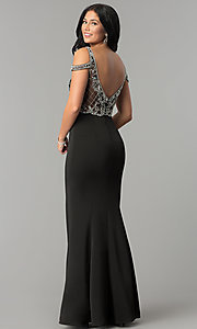 Image of cold-shoulder long beaded-bodice prom dress. Style: DQ-2187 Back Image