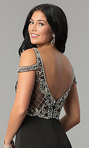 Image of cold-shoulder long beaded-bodice prom dress. Style: DQ-2187 Detail Image 2