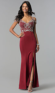 Image of cold-shoulder long beaded-bodice prom dress. Style: DQ-2187 Detail Image 3