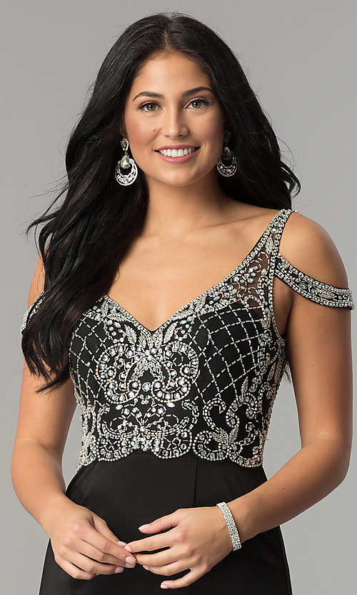 Image of cold-shoulder long beaded-bodice prom dress. Style: DQ-2187 Detail Image 1
