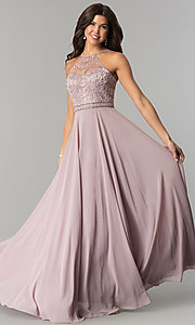 Image of embroidered-bodice high-neck long chiffon prom dress. Style: DQ-2092 Front Image