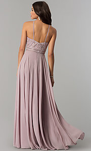 Image of embroidered-bodice high-neck long chiffon prom dress. Style: DQ-2092 Back Image