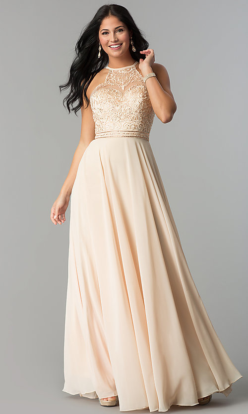 Image of embroidered-bodice high-neck long chiffon prom dress. Style: DQ-2092 Detail Image 1