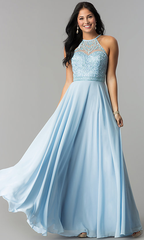 Image of embroidered-bodice high-neck long chiffon prom dress. Style: DQ-2092 Detail Image 3