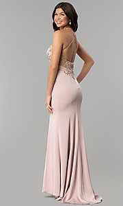 Image of long beaded illusion-sweetheart prom dress. Style: DQ-2200 Back Image
